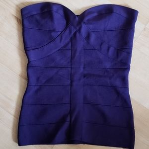 bebe Bandage Corset Tubetop Blue/Purple Size M
